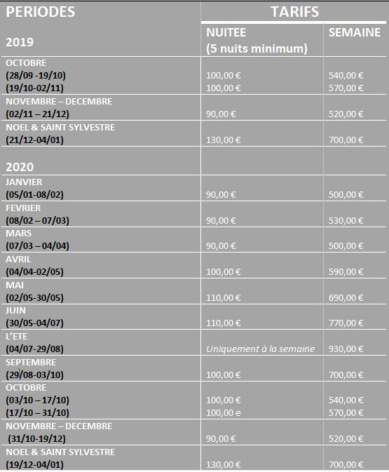 tarifs 2020 location de vacances Bam Kalon